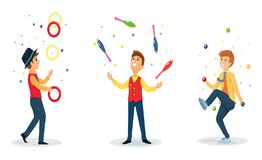 Free Three Cartoon Jugglers Performs A Circus Trick Stock Images - 137513124