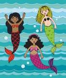 Three cartoon mermaids drawn in a sketchy style vector illustration
