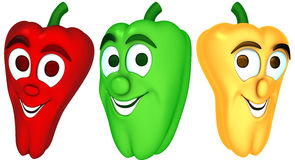Three cartoon peppers Royalty Free Stock Image