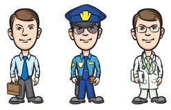 Three cartoon professionals businessman policeman doctor Stock Image