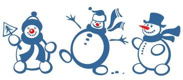 Three cartoon snowballs Stock Photo