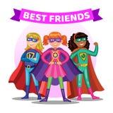 Three cartoon super heroines. Girls in superhero costumes. Three cartoon super heroines. Girls in colorful superhero costumes. Kids best friends. Vector royalty free illustration