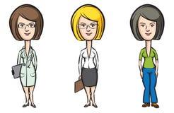 Three cartoon women professionals doctor secretary teacher Stock Image