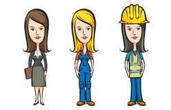 Three cartoon women professionals Stock Photos