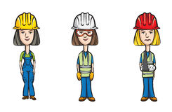 Three cartoon women workers with hardhats vector illustration