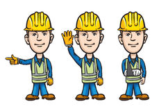 Three cartoon workers pointing waving injured vector illustration