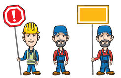 Three cartoon workers with signs royalty free illustration