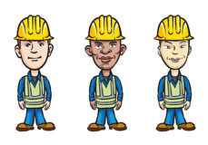 Three cartoon workers various ethnicity royalty free illustration