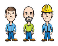 Three cartoon workers Stock Images