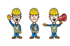 Three cartoon workers with waving injured speaking royalty free illustration