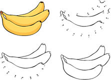 Three cartoon yellow bananas. Vector illustration. Coloring and Royalty Free Stock Photography