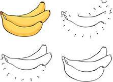 Three cartoon yellow bananas. Vector illustration. Coloring and Royalty Free Stock Photography