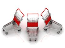 Three carts on wheels Stock Image