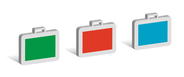 Three cases. 3D symbols with place for your text Stock Photos