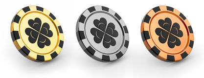 Three casino chips Stock Images