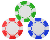 Three Casino chips over white Stock Image