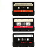 Three cassettes isolated on white Royalty Free Stock Photography