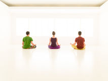 Three casual people yoga class back Stock Image