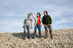 Three casual young men at the beach Stock Image