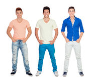 Three casual young men Stock Images