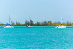 Three Catamarans at the beach. Three Catamarans at the tropical beach of Cuba Stock Image