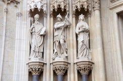 Three Catholic statutes, Zagreb Cathedral Stock Photos
