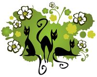 Three cats and flowers Royalty Free Stock Photography