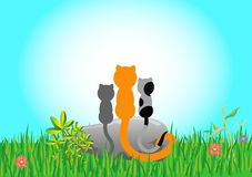 Three cats sitting on a stone on a green meadow. Together they look at the blue sky stock illustration