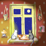 Three cats on the window. Three cats are sitting on the window and look outdoors in vector royalty free illustration