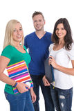 Three caucasian isolated people like students - team, teamwork. Royalty Free Stock Photos