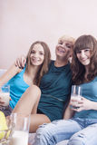 Three Caucasian Young Ladies With Dental Bracket System Having F Royalty Free Stock Photos