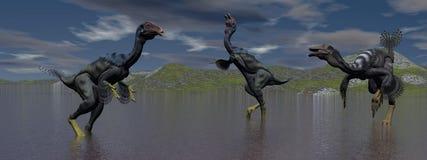 Three caudipteryx  dinosaur Stock Photo