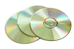 Three cd. Isolated on a white background Stock Photography