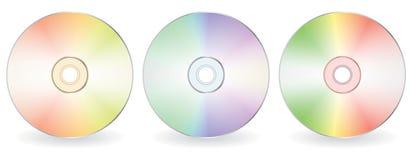 Three cd-disks. Three blank cd-disks. Vector illustration Stock Images
