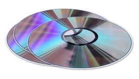 Three CD / DVD disks isolated on White Stock Photography