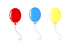 Three celebration balloons. A group of three colorful balloons floating together in a line Stock Photos