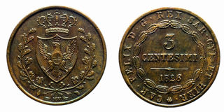 Three cents Lire Savoy Copper Coin 1826 Turin Carlo Felice pre-unification of Italy Royalty Free Stock Photography