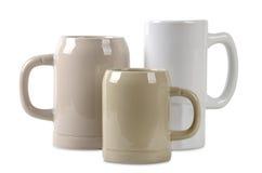 Three ceramic beer mugs Stock Photo