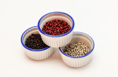 White bowls with pepper spice Royalty Free Stock Photo