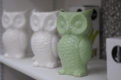 Three ceramic owls Stock Image