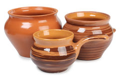 Three ceramic pot Stock Photos
