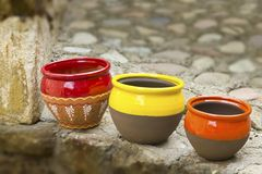 Three ceramic pots Royalty Free Stock Photo