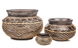 Three ceramic vase brown Royalty Free Stock Images