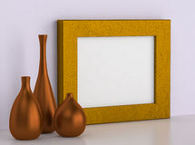 Three ceramic vases and golden frame for picture Royalty Free Stock Photo