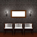 Three chair with empty frame and sconces. In dark minimalist interior Stock Images