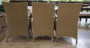 Three chair on the porch in summer resort Royalty Free Stock Images