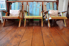 Three chair. Woods chair from chaingkhan Thailand in Pern Pern resort near Mekong rever Royalty Free Stock Photography