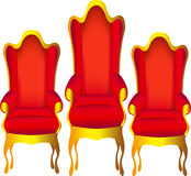 Three chairs for chief red Stock Photo