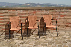 Three chairs waiting for the spring Royalty Free Stock Images
