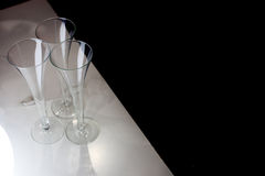 Three champagne glasses Stock Photography